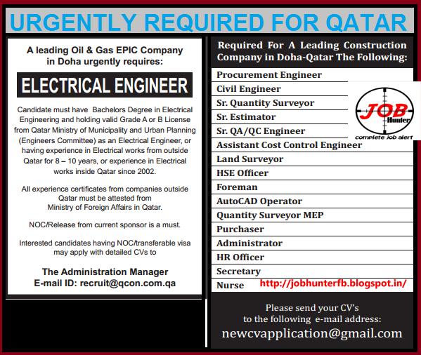 qatar job vacancy list  post your cv now