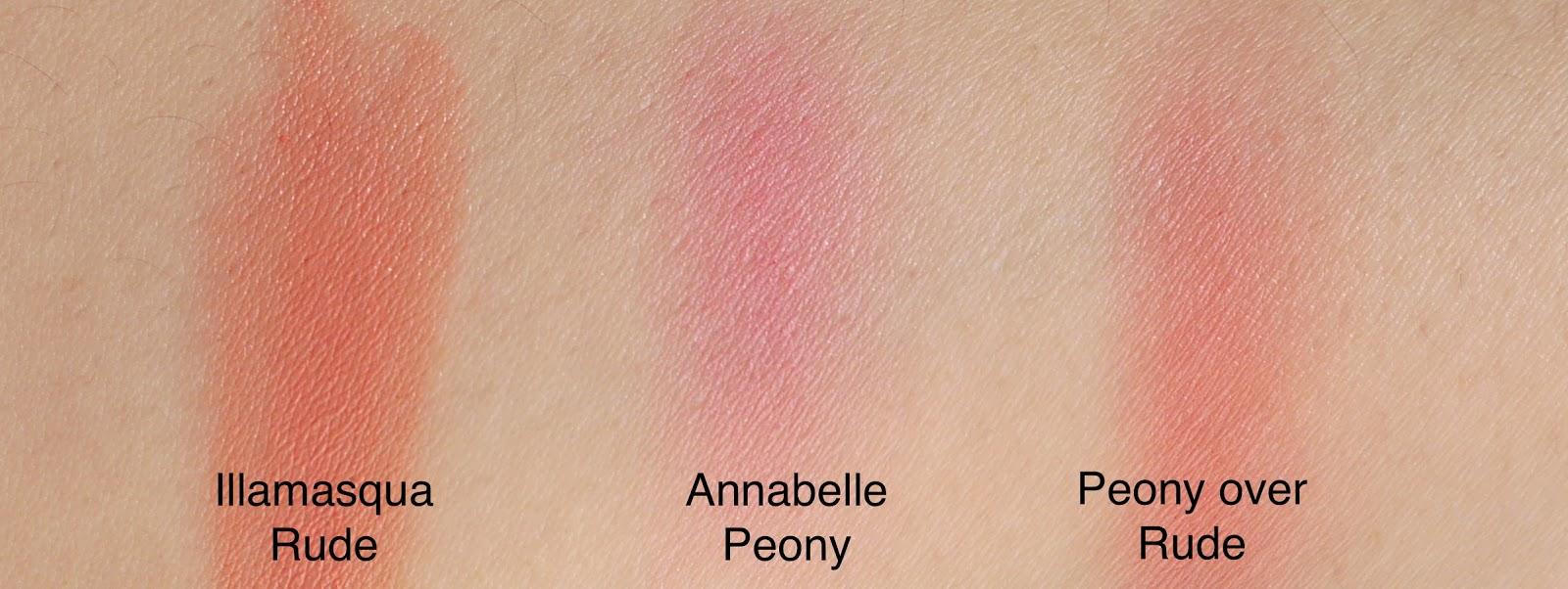 illamasqua rude cream blush and annabelle peony blush swatch layered