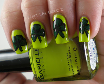 St Patty's Day, St Paddy's Day, St Patrick's Day, Clovers, Shamrocks, Nail Art, Barielle, Avon, Stripe Rite