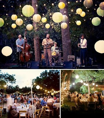 Rice lanterns create a lovely effect for outdoor weddings