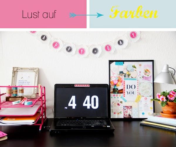 Schreibtisch, Moodboard, Wohnen mit Farben