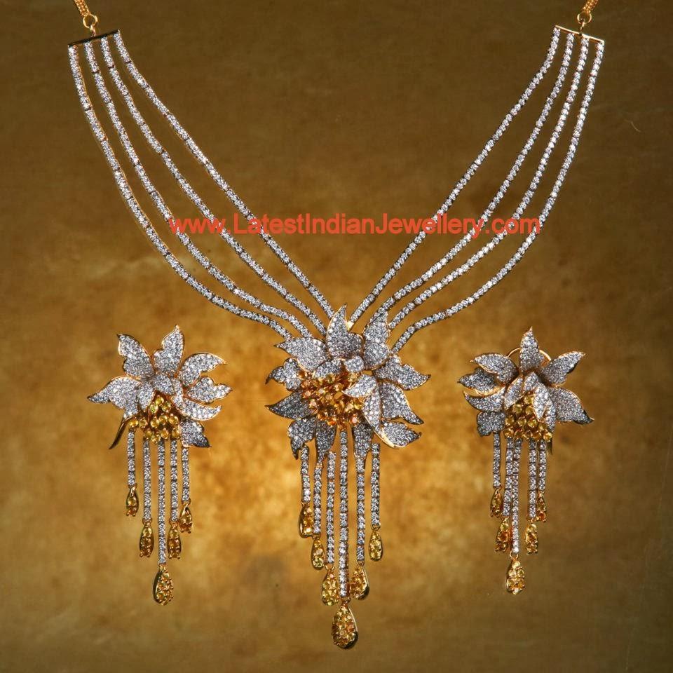 Bhima Jewellery Bands: Diamond Topaz Necklace Sets