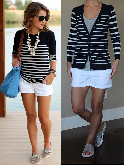 How to wear a striped cardigan and shorts, gray tank, gray Converse, summer 2015