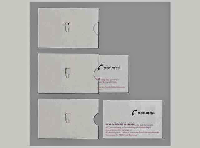 ilginç ve yaratıcı kartvizit tasarımlarına örnek, Diş Hekimi