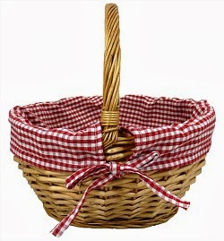 Wicker Basket with Gingham Cloth