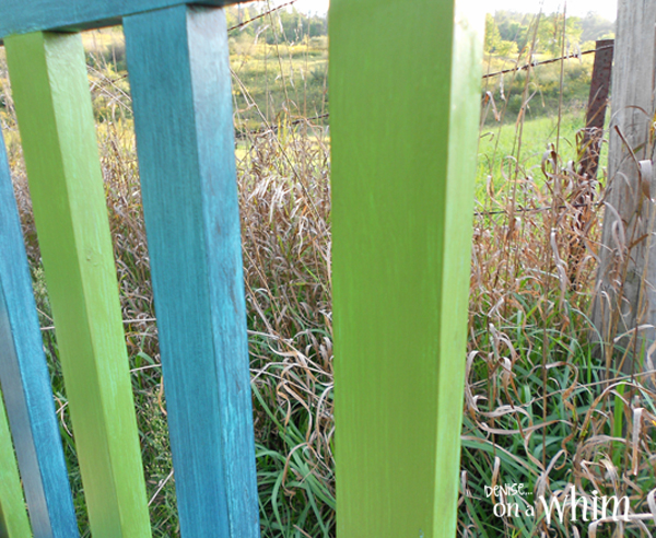Teal Blue and Lime Green Bench Makeover from Denise on a Whim
