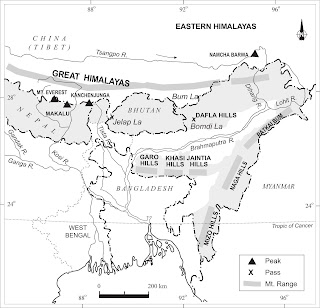 Eastern Himalayas of India Map