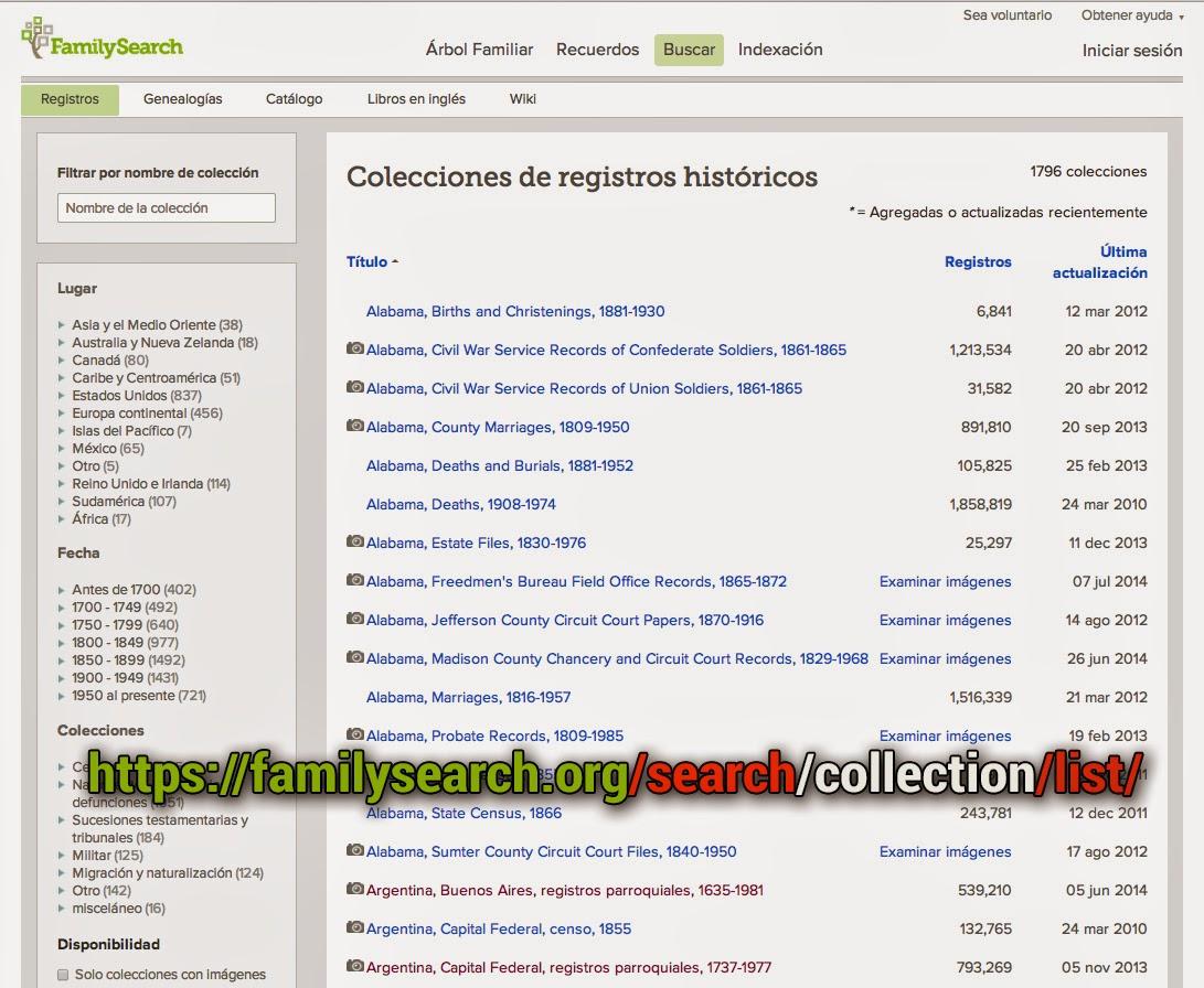 colecciones familysearch