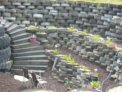 Landscaping With Tires : Vegans living off the land recycled car truck tire gardens