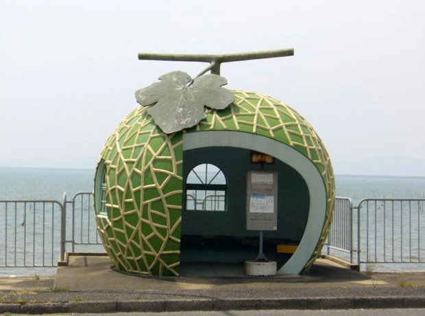 Fruit Shaped Bus Stops in Japan