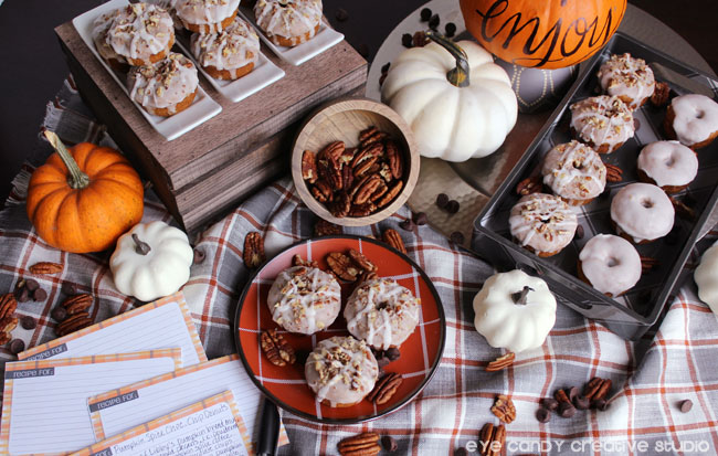 pumpkin spice chocolate chip donut recipe, free recipe cards, plaid