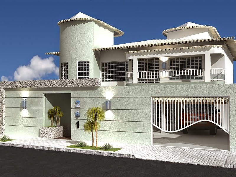 20 fachadas de casas modernas com muros e port es for Modelos de fachadas
