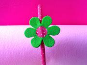 Diadema con Flor. Publicado por Cogido con hilos en 1.3.12 (diadema rosa flor verde)