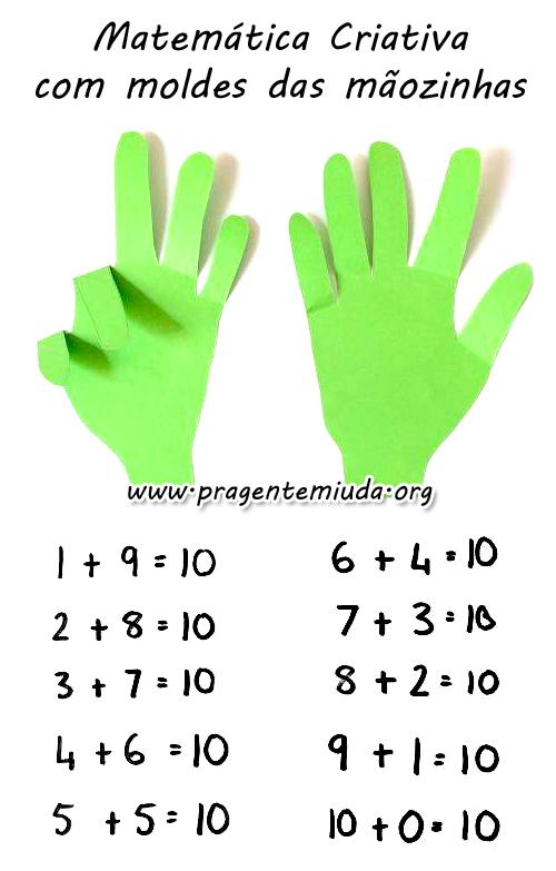 Como trabalhar matemática com molde das mãos