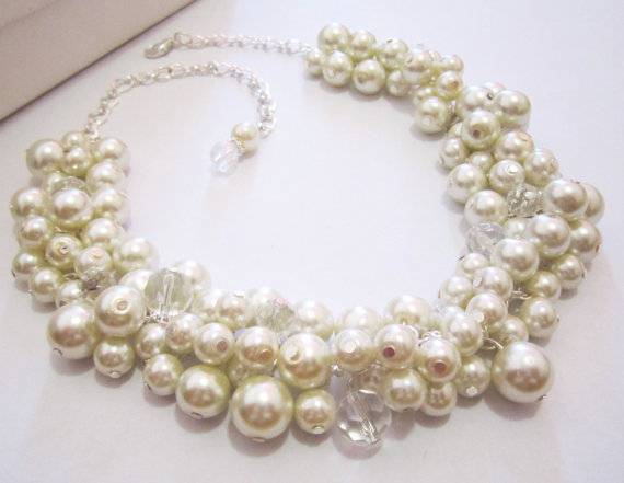 Ivory Pearl Cluster Necklace