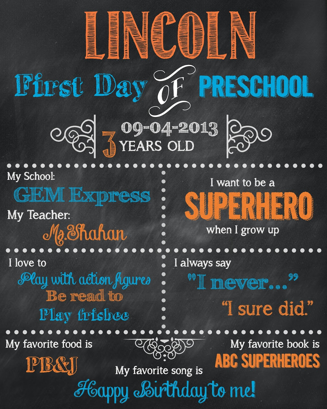 Striking image in first day of preschool sign free printable