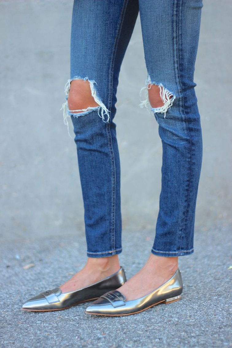 Ripped distressed denim gold metallic loafers