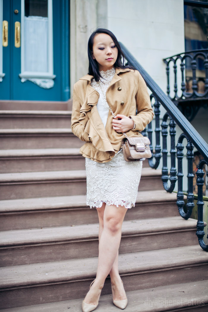 ruffled pea coat urban outfitters, lace crochet midi cream skirt, lace lulus blouse shirt, zac posen z spoke mini handbag, mango nude pumps, spring 2013 nude trend, diya liu, nyc, style blog, fashion