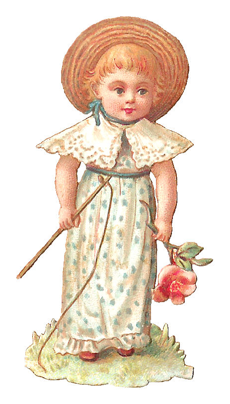 Antique images girl digital vintage clip art flowers and for Girl fishing pole