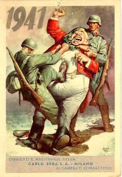 1940 Italian poster showing the Germans kicking the British John ...