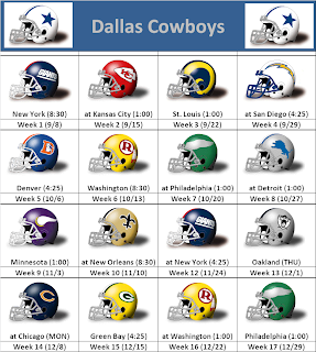 2013 Dallas Cowboys Helmet Schedule