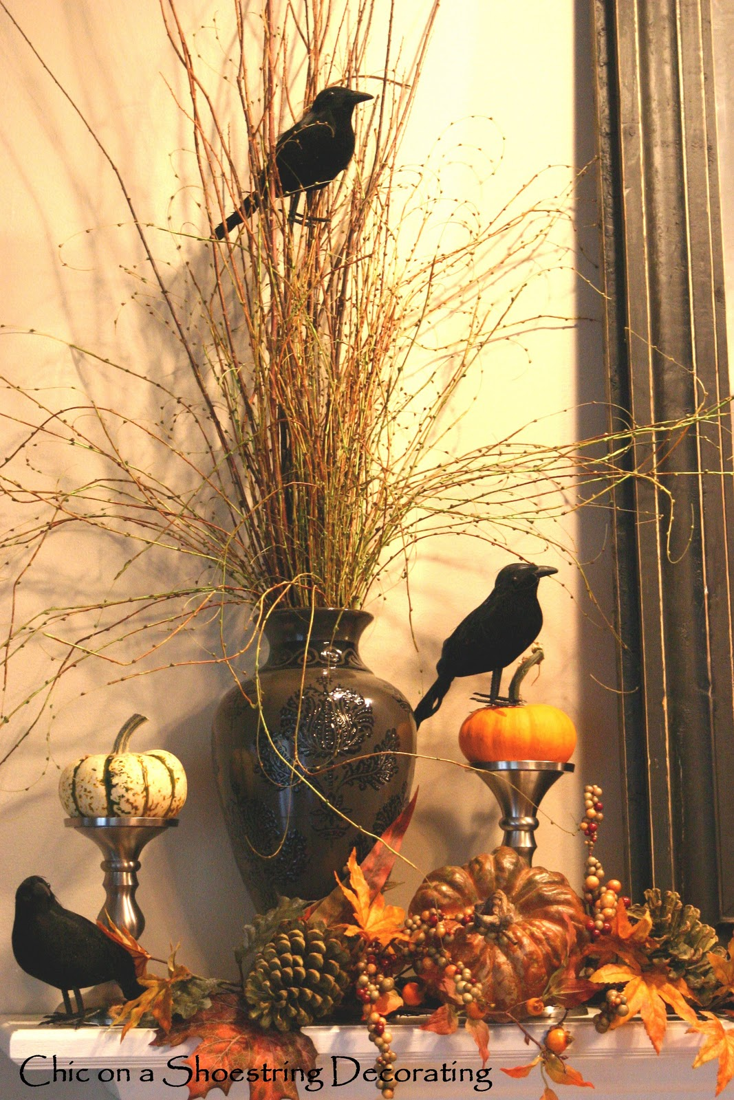 chic on a shoestring decorating halloween mantel is for the birds take 2. Black Bedroom Furniture Sets. Home Design Ideas
