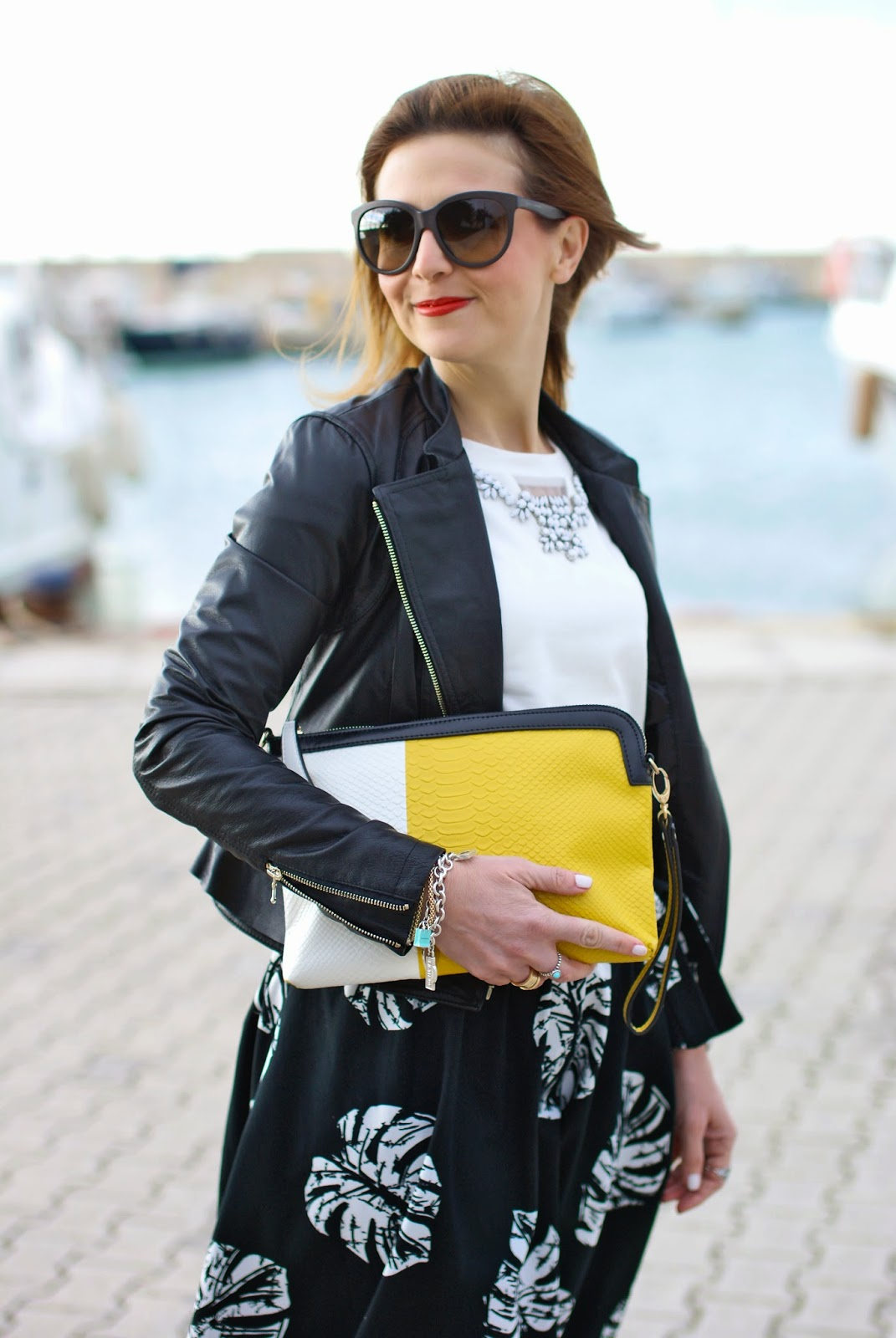 Giorgia & Johns felpa pietre e tulle, leather peplum jacket, palm leaf print skirt, Fashion and Cookies, fashion blogger