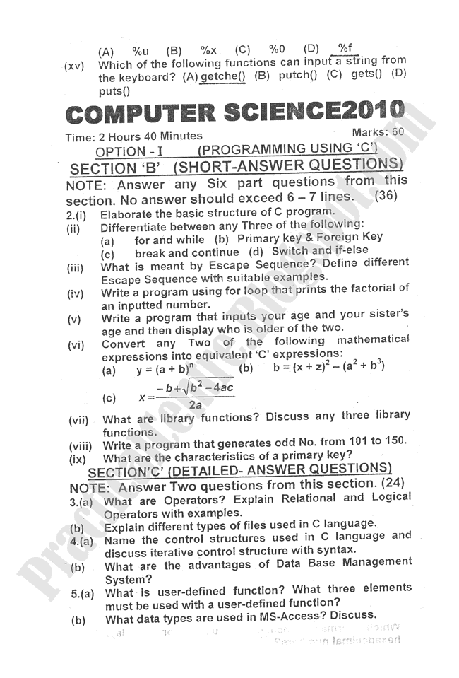 Computer-science-2010-five-year-paper-class-XII