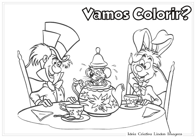 Desenho Alice no país das maravilhas para colorir