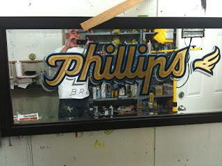 Phillips brewery hand painted mirror gold sign written by dobell signs north America traditional signage