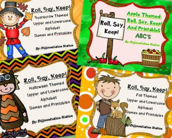 http://www.teacherspayteachers.com/Product/BUNDLE-Fall-and-Winter-Roll-Say-Keep-Alphabet-Centers-Games-Printables-907370