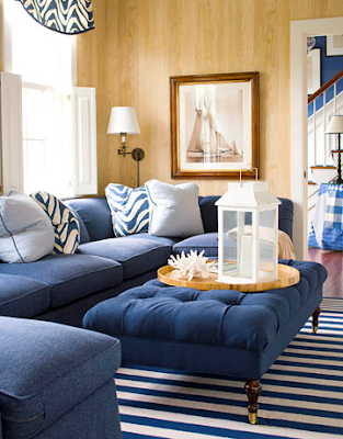 decorar sala sofa azul