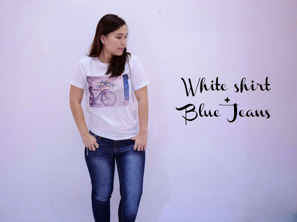 Outfit Diary : White shirt & Blue Jeans | Flower basket