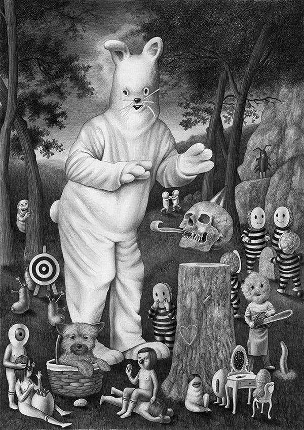 16-Rabbit-Amandine-Urruty-Surreal-Drawings-not-for-Children-www-designstack-co