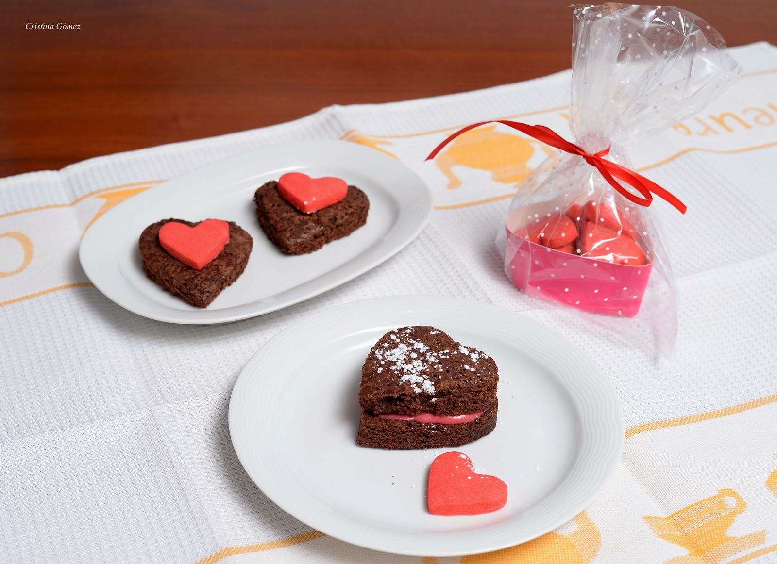Valentine's Brownie Hearts with Raspberry Buttercream