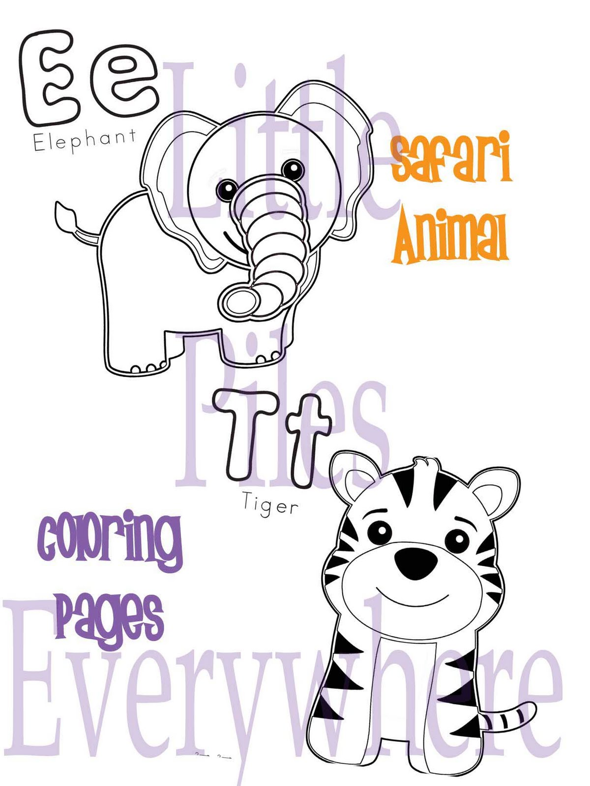 Safari Animals Coloring Pages high resolution