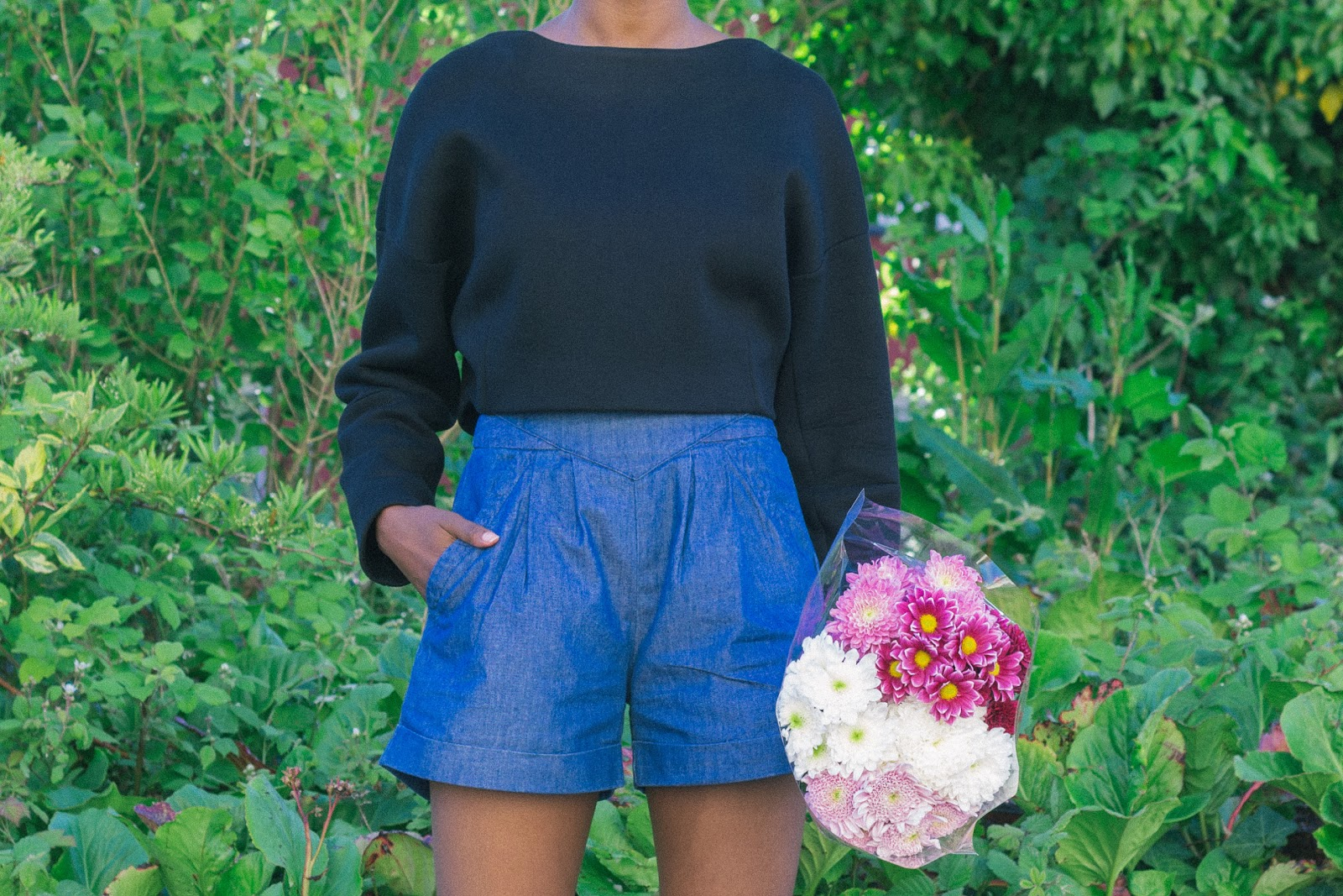 Zara Neoprene Jumper, Urban Outfitters Shorts,  Floral Shoot,