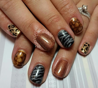 animal print nail art, zebra giraffe and cheetah
