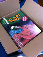 Box of copies of Alex Hahn's Blop Comix