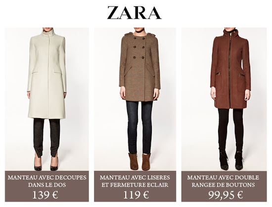 Collection de Manteaux Zara