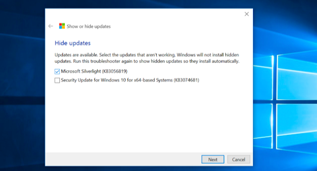 menyembunyikan updates windows 10