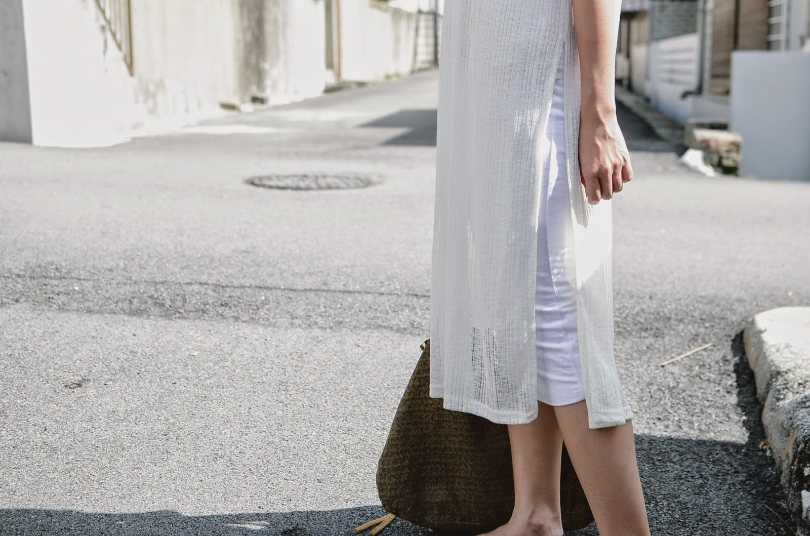 Fashion Clicks Just Click Your Way To Monday Shopping De Michel Sandal Flat Wanita Princess Putih Sheer Ribbed Midi Dress With Side Slits