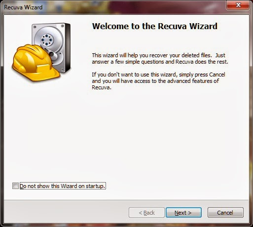 Recuva welcome screen
