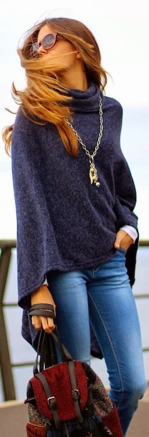 Adorable Dark Blue Cardigan with Jeans