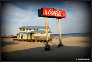 Seaside Heights NJ boardwalk covered in sand January 2013
