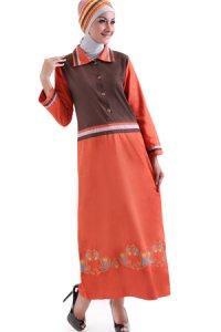 Najya Gamis J45 - Coklat Merah Bata (Toko Jilbab dan Busana Muslimah Terbaru)