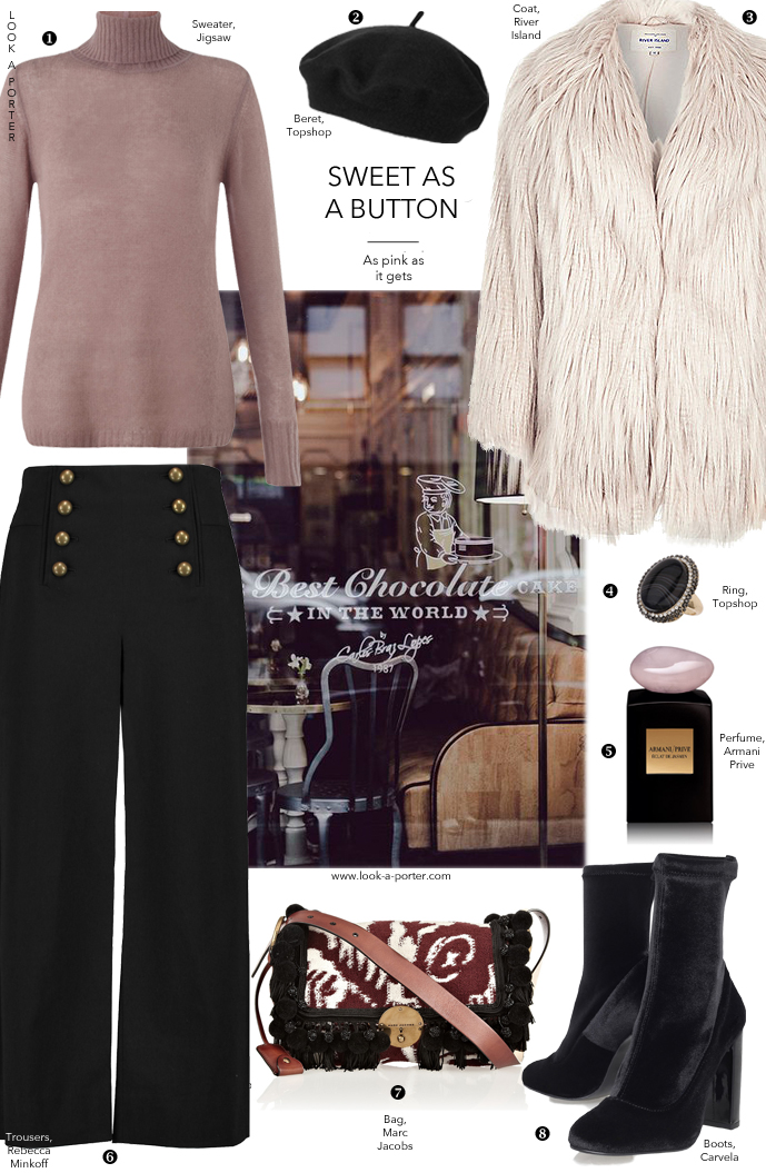 Styling fluffy fur coat with sailor trousers, ankle boots and cashmere turtleneck via www.look-a-porter.com style & fashion blog
