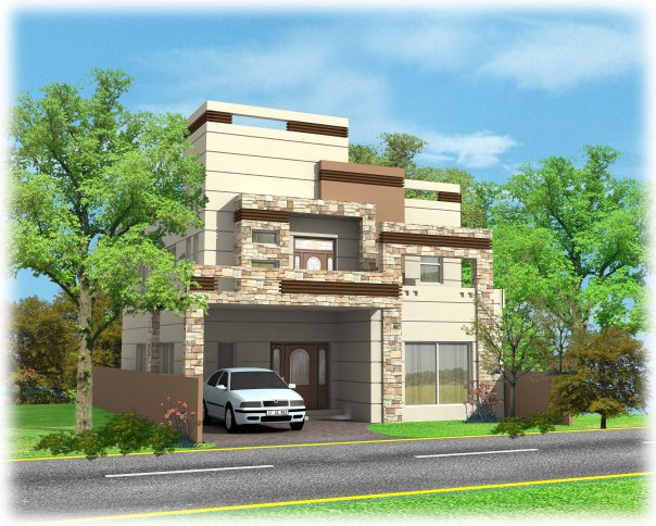 Front Elevation Of Houses In Lahore : Casatreschic interior wapda town marla d front
