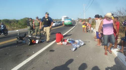 Acidente moto bate de frente con van na BR 343 em Parnaíba