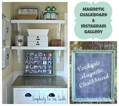 Tutorial on how to make a faux verdigris framed magnetic chalkboard and Instagram gallery.